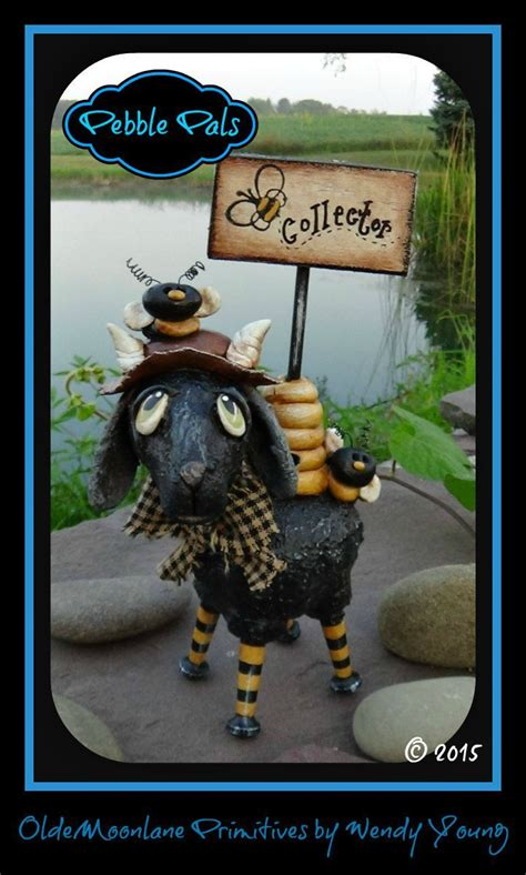 Bee Collector Goat Hand sculpted pebbles/rocks make great