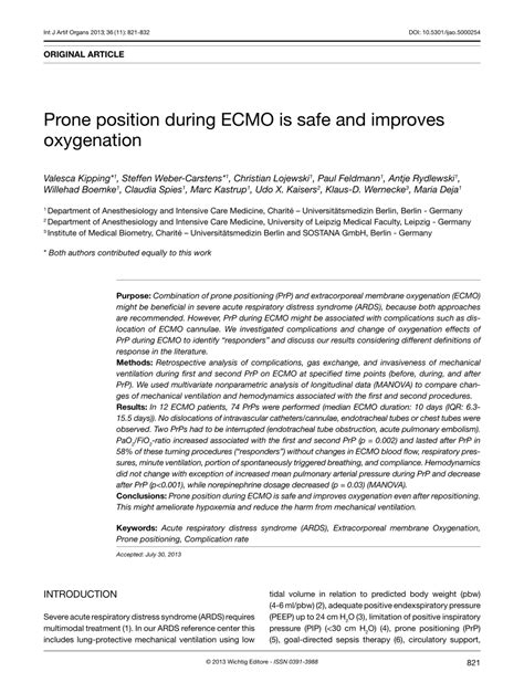 (PDF) Prone position during ECMO is safe and improves
